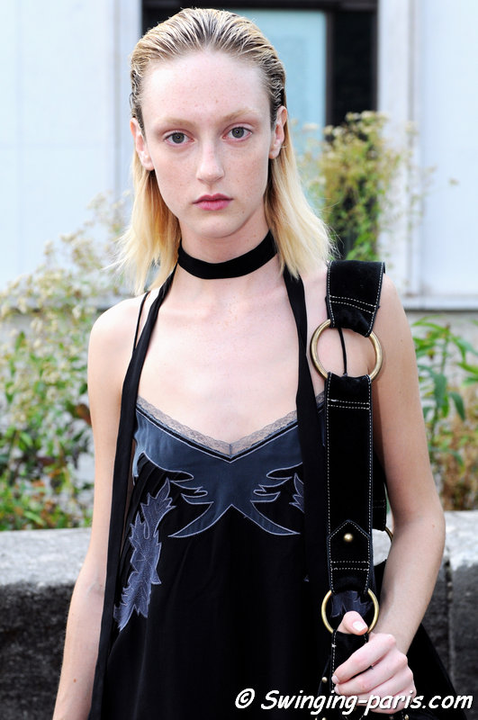Frances Coombe leaving Léonard show, Paris S/S 2015 RtW Fashion Week, September 2014