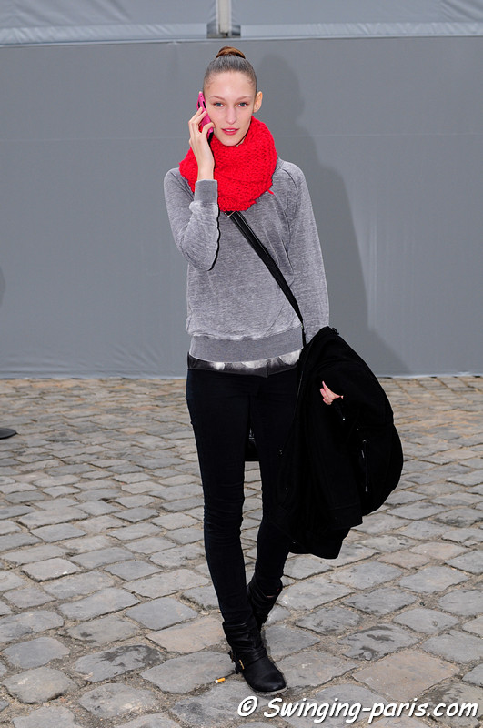 Franziska (Franzi) Müller leaving Louis Vuitton show, Paris F/W RtW 2012 Fashion Week, March 2012