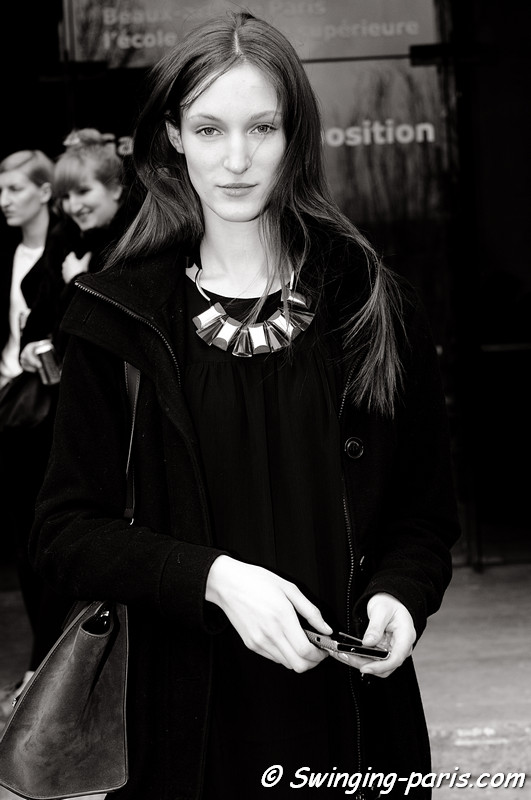 Franziska Franzi Müller after Sacai show, Paris F/W RtW 2012 Fashion Week, March 2012