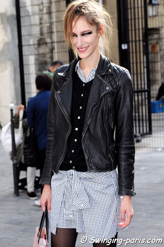 Franziska (Franzi) Müller leaving Ann Demeulemeester show, Paris S/S 2015 RtW Fashion Week, September 2014