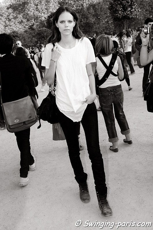 Freja Beha Erichsen exiting Lanvin show, Paris S/S 2012 Fashion Week, September 2011