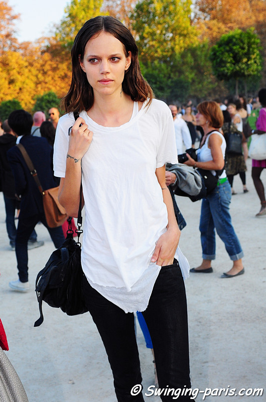 Freja Beha Erichsen exiting Lanvin show, Paris S/S 2012 Fashion Week, September 2011
