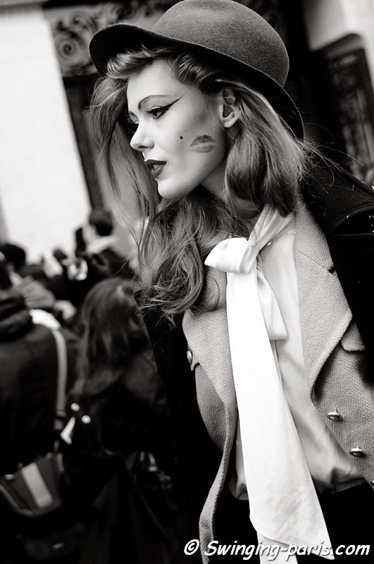 Frida Gustavsson exiting Jean-Paul Gaultier show, Paris Fashion Week, January 2011
