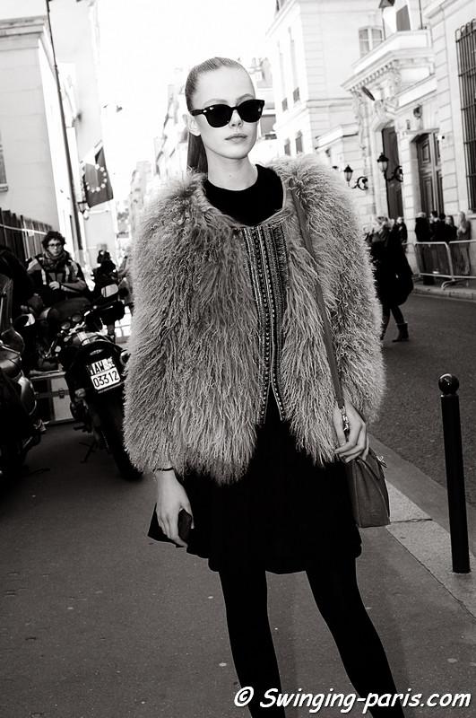 Frida Gustavsson leaving Emanuel Ungaro show, Paris Fashion Week, March 2011