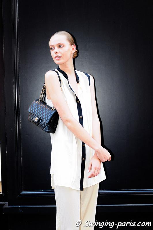 Frida Gustavsson outside Giambattista valli show, Paris Haute Couture F/W Fashion Week, July 2011