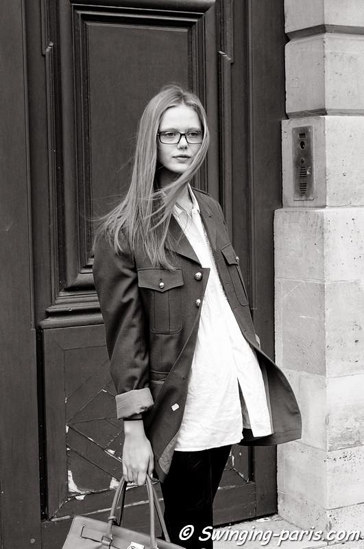 Frida Gustavsson after Giambattista Valli show, Paris October 2010