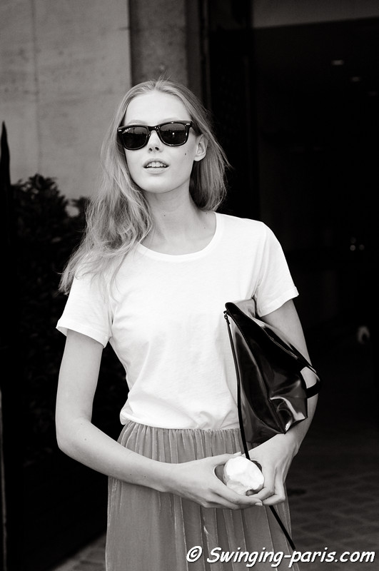 Frida Gustavsson leaving Giambattista Valli show, Paris Haute Couture F/W 2012 Fashion Week, July 2012