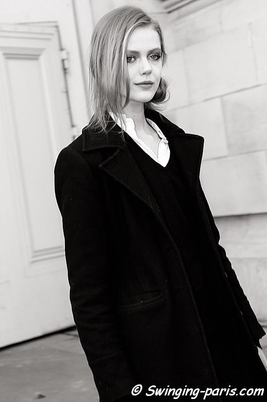 Frida Gustavsson leaving Chanel show, Paris Fashion Week, March 2011