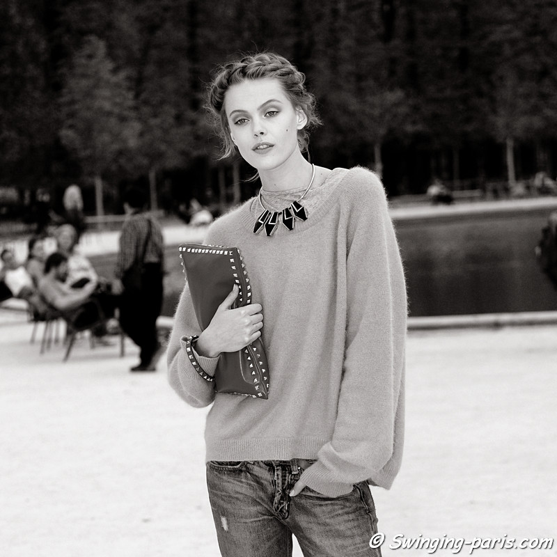 Frida Gustavsson outside Valentino show, Paris S/S 2012 Fashion Week, September 2011