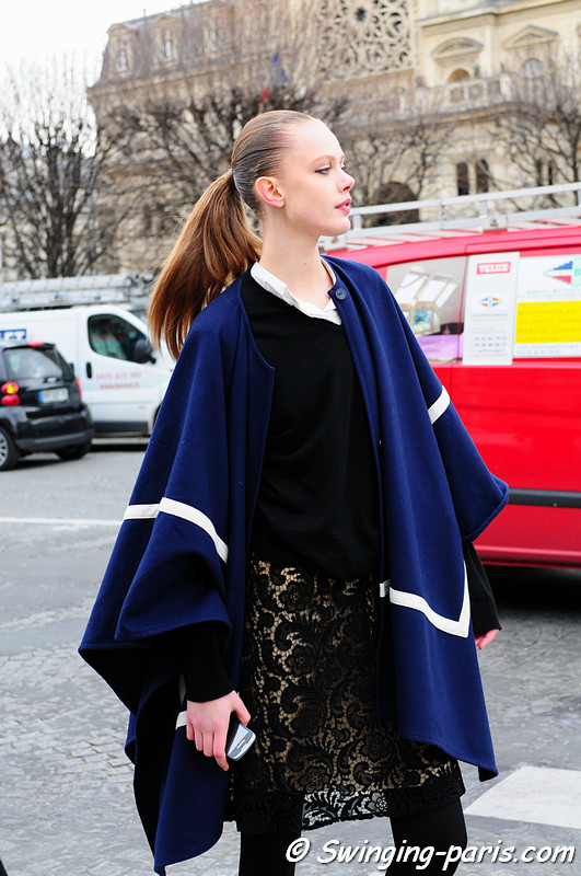 Frida Gustavsson leaving Louis Vuitton show, Paris Fashion Week, March 2011