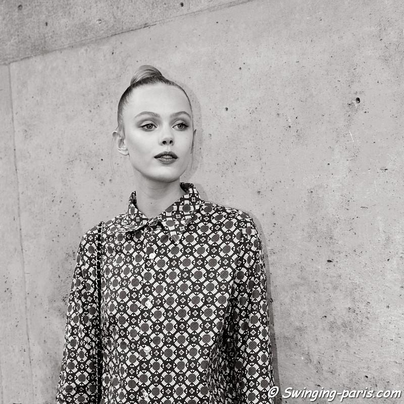 Frida Gustavsson leaving Valentino show, Paris Haute Couture F/W 2012 Fashion Week, July 2012