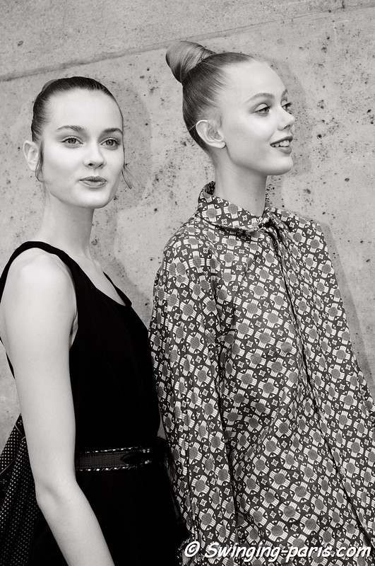 Jac (Monika Jagaciak) and Frida Gustavsson leaving Valentino show, Paris Haute Couture F/W 2012 Fashion Week, July 2012