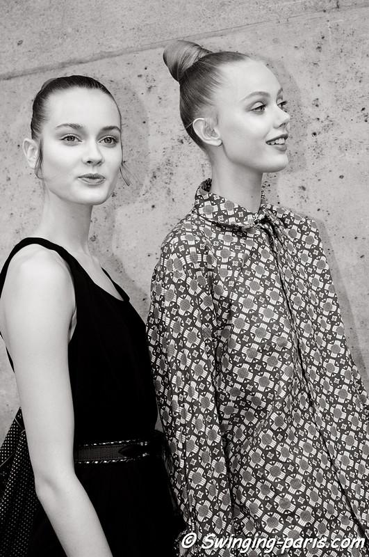 Jac (Monika Jagaciak) and Frida Gustavsson leaving Valentino show, Paris Haute Couture F/W 2012 Fashion Week, July 2012