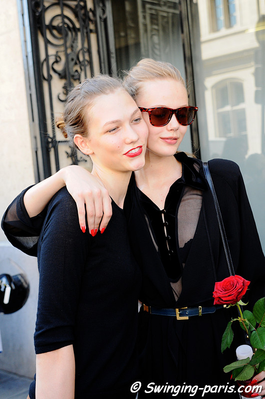 Frida Gustavsson and Karlie Kloss after Jean Paul Gaultier Show, July 2010