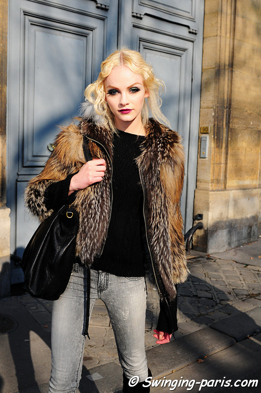 Ginta Lapina leaving Christian Dior show, Paris Fashion Week, March 2011
