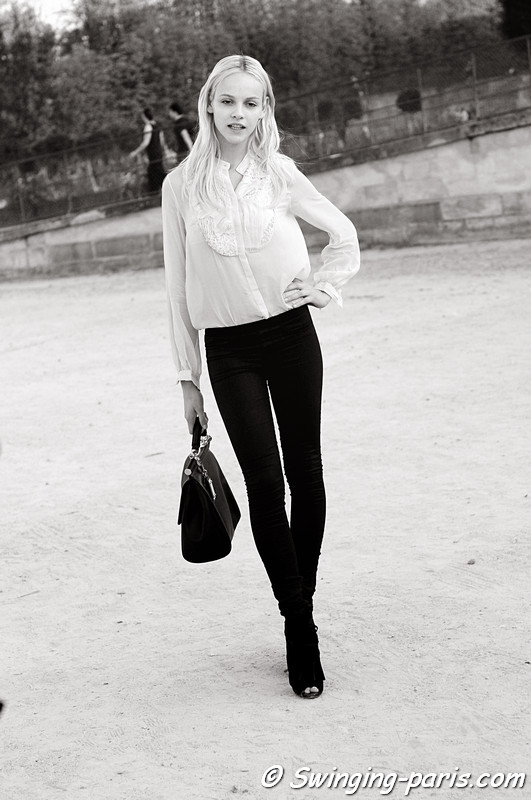 Ginta Lapina after Lanvin show, Paris S/S 2012 Fashion Week, September 2011