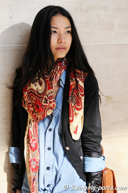 Girl with paisley scarf