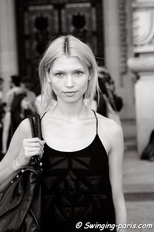 Hana Jirickova outside Vanessa Bruno show, Paris S/S 2014 RtW Fashion Week, September 2013