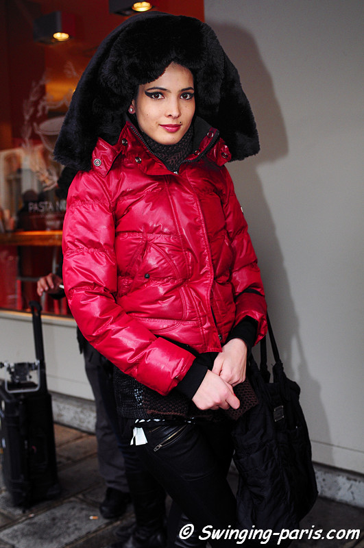 Hanaa Ben Abdesslem exiting Jean Paul Gaultier show, Paris Haute Couture S/S 2012 Fashion Week, January 2012.
