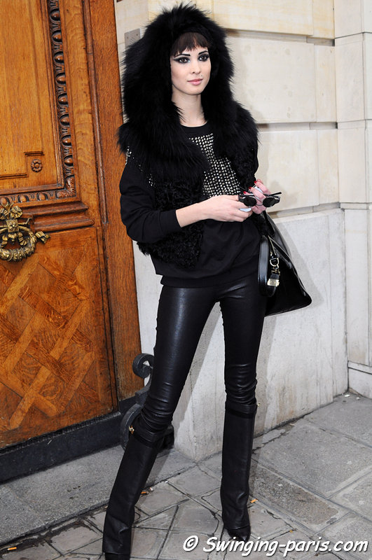 Hanaa Ben Abdesslem exiting Jean Paul Gaultier show, Paris Haute Couture S/S 2013 Fashion Week, January 2013