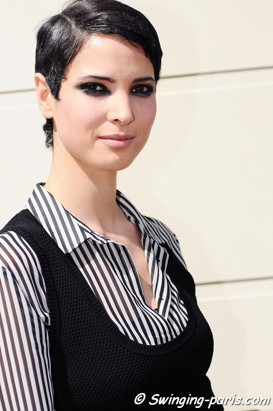 Hanaa Ben Abdesslem exiting Jean Paul Gaultier show, Paris Haute Couture F/W 2012 Fashion Week, July 2012