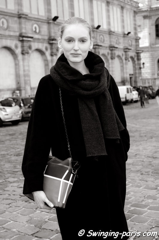 Hannare Blaauboer leaving Allude show, Paris F/W 2014 RtW Fashion Week, March 2014