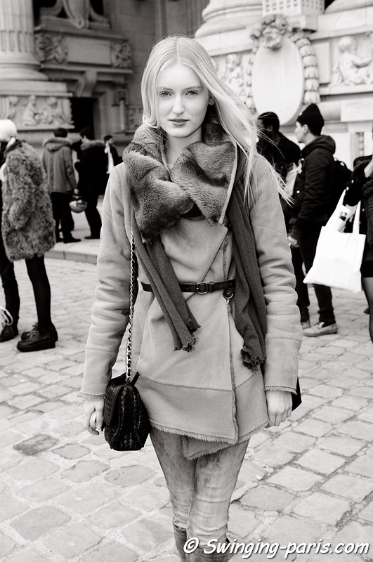 Hannare Blaauboer leaving Allude show, Paris F/W RtW 2012 Fashion Week, March 2012