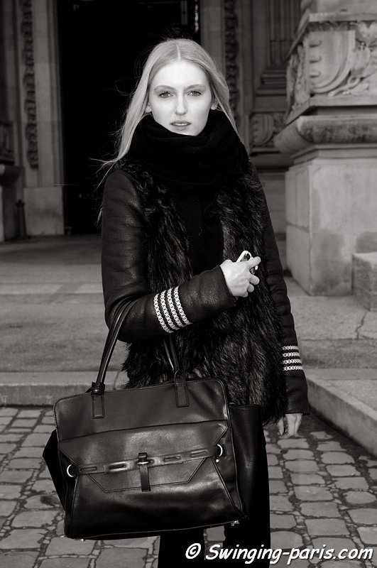 Hannare Blaauboer after Guy Laroche show, Paris F/W 2013 RtW Fashion Week, March 2013