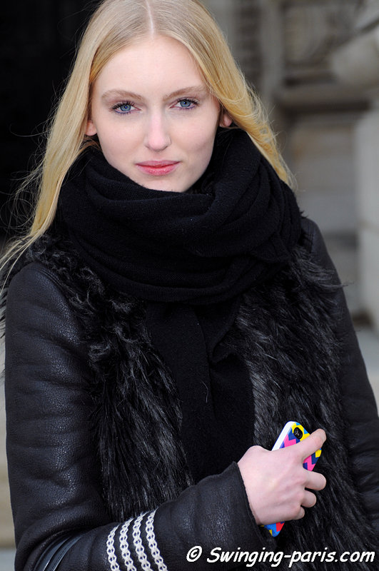 Hannare Blaauboer after Guy Laroche show, Paris F/W 2013 RtW Fashion Week, March 2013