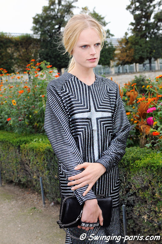 Hanne Gaby Odiele outside Valentino show, Paris S/S 2014 RtW Fashion Week, October 2013