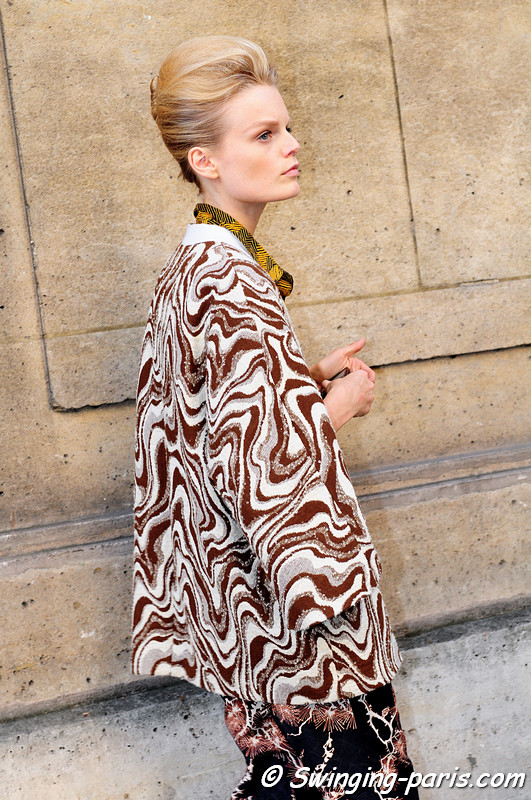 Hanne Gaby Odiele leaving Rochas show, Paris S/S 2012 Fashion Week, September 2011