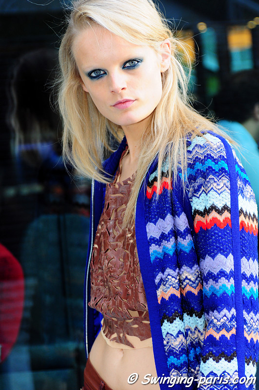 Hanne Gaby Odiele leaving Emanuel Ungaro show, Paris S/S 2012 Fashion Week, October 2011