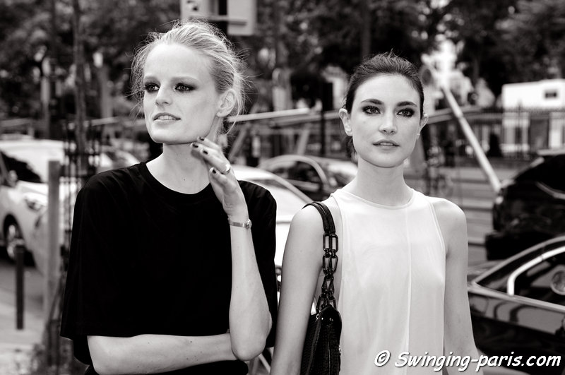 Hanne Gaby Odiele and Jacquelyn Jablonski outside Alexandre Vauthier show, Paris Haute Couture F/W 2013 Fashion Week, July 2013