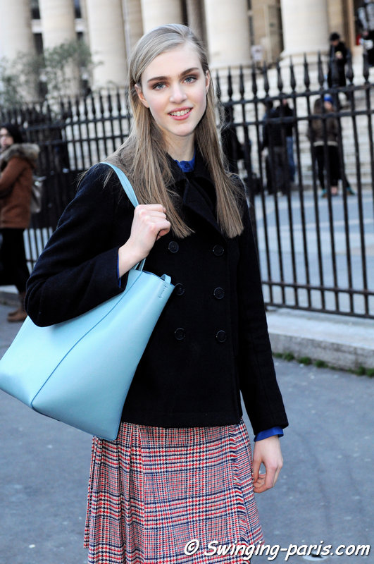 Hedvig Palm outside Hermès show, Paris F/W 2014 RtW Fashion Week, March 2014