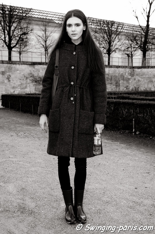 Iana Godnia leaving Nina Ricci show, Paris F/W 2014 RtW Fashion Week, February 2014
