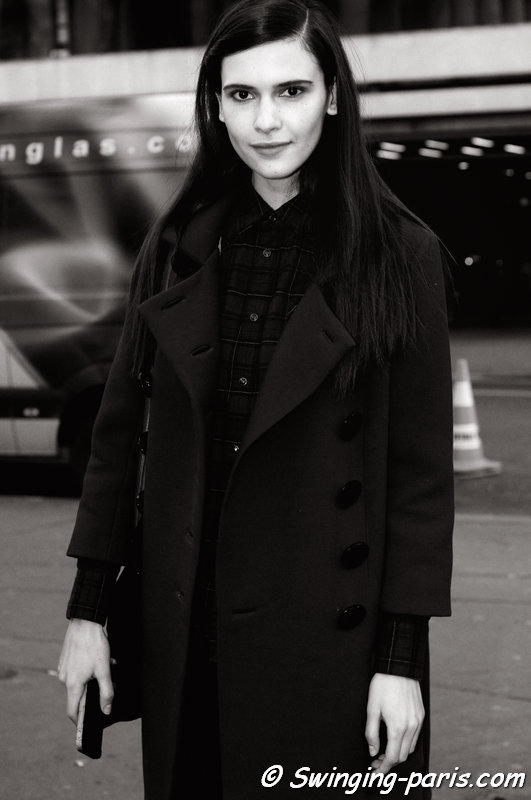 Iana Godnia leaving Hermès show, Paris F/W 2014 RtW Fashion Week, March 2014
