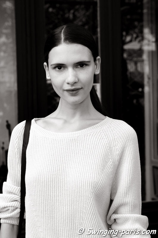 Iana Godnia leaving Roland Mouret show, Paris S/S 2015 RtW Fashion Week, September 2014