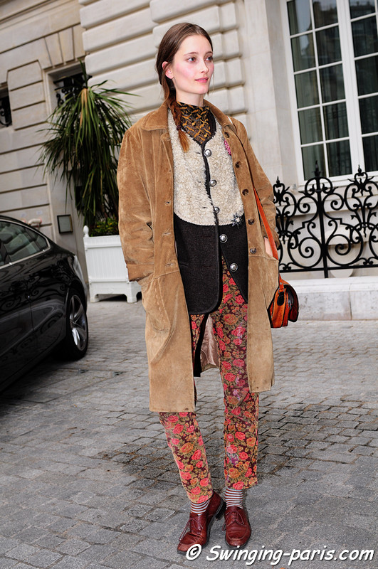 Iekeliene Stange after Anne Valérie Hash show, Paris F/W RtW 2012 Fashion Week, March 2012