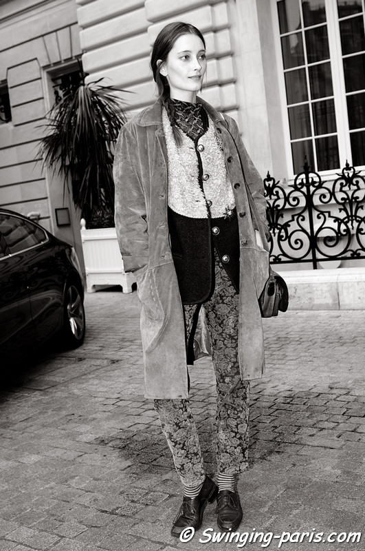 Iekeliene Stange after Anne Valrie Hash show, Paris F/W RtW 2012 Fashion Week, March 2012
