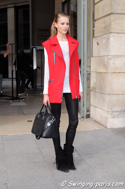 Ieva Laguna outside Roland Mouret show, Paris S/S 2014 RtW Fashion Week, September 2013