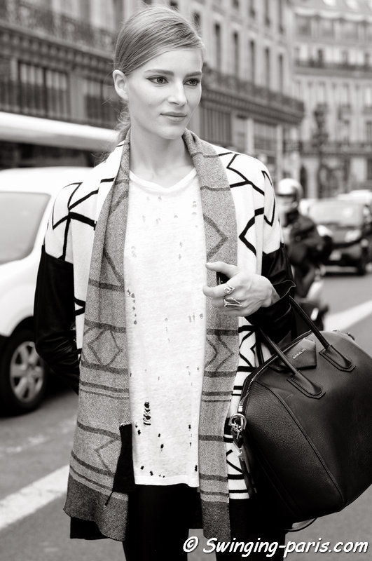 Ieva Laguna leaving Stella McCartney show, Paris S/S 2014 RtW Fashion Week, September 2013