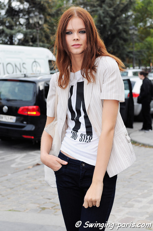 Irina Kravchenko outside Paco Rabanne show, Paris S/S 2013 RtW Fashion Week, October 2012