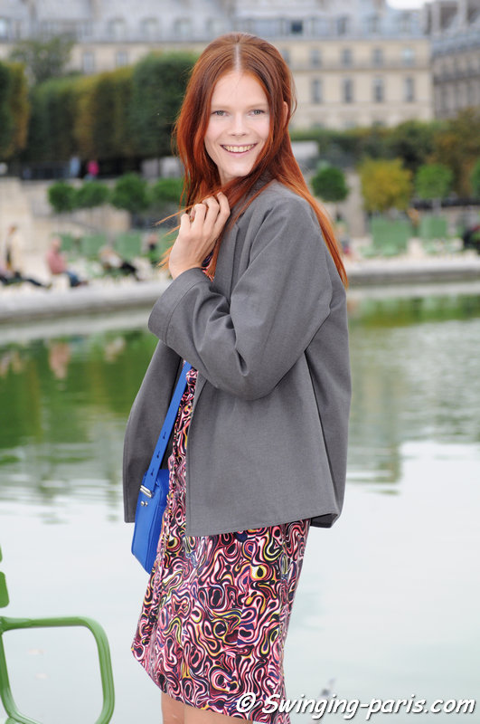 Irina Kravchenko outside Valentino show, Paris S/S 2014 RtW Fashion Week, October 2013