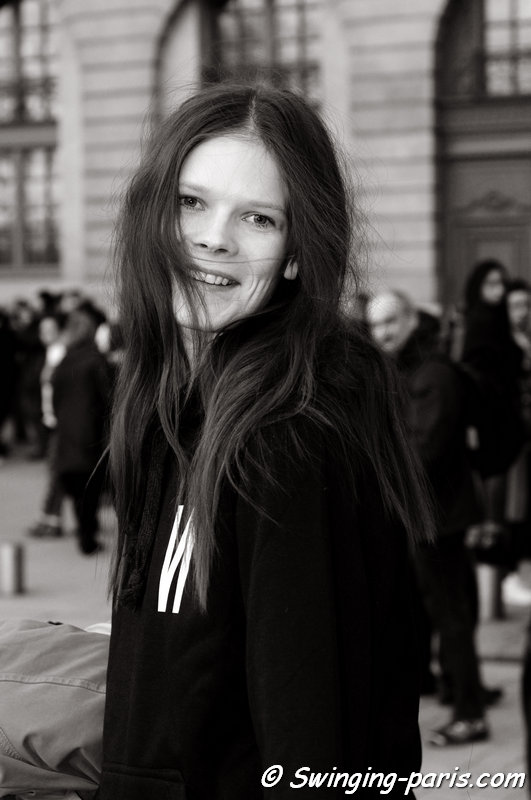 Irina Kravchenko outside Rochas show, Paris F/W 2014 RtW Fashion Week, February 2014