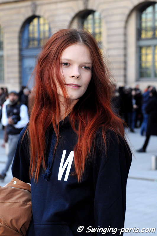 Irina Kravchenko outside Rochas show, Paris F/W 2014 RtW Fashion Week, February 2014