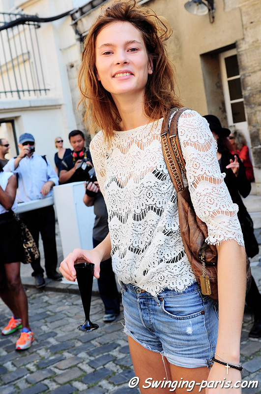 Irina Kulikova (Ирина Куликова) after Ann Demeulemeester show, Paris S/S 2012 Fashion Week, September 2011