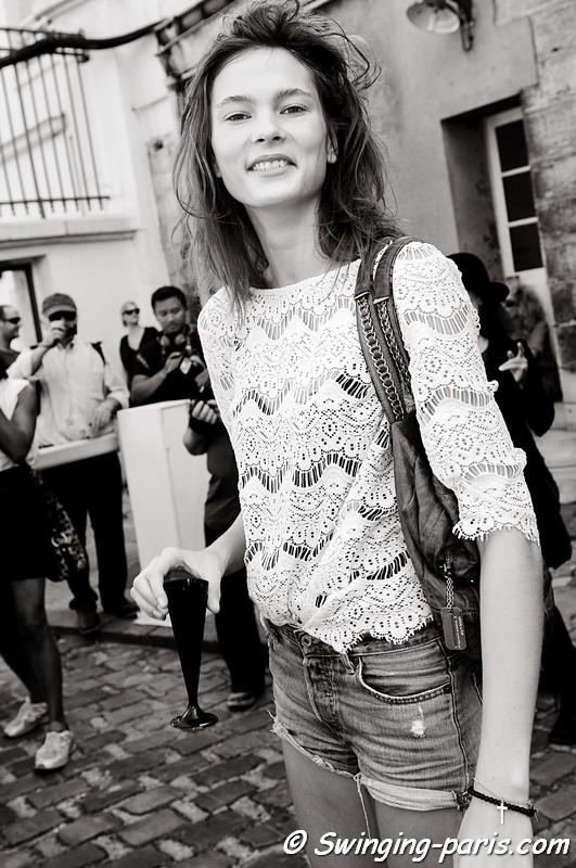 Irina Kulikova (Ирина Куликова) after Ann Demeulemeester show, Paris S/S 2012 Fashion Week, September 2011