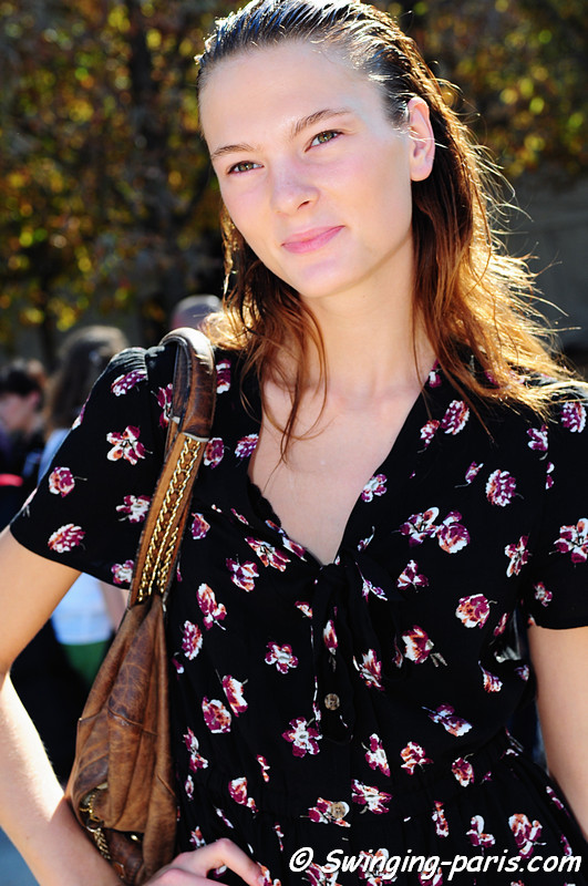 Irina Kulikova (Ирина Куликова) after Guy Laroche show, Paris S/S 2012 Fashion Week, September 2011