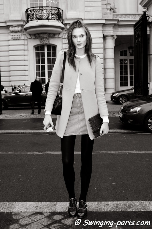 Irina Kulikova ( ) after Didit Hediprasetyo show, Paris Haute Couture S/S 2013 Fashion Week, January 2013