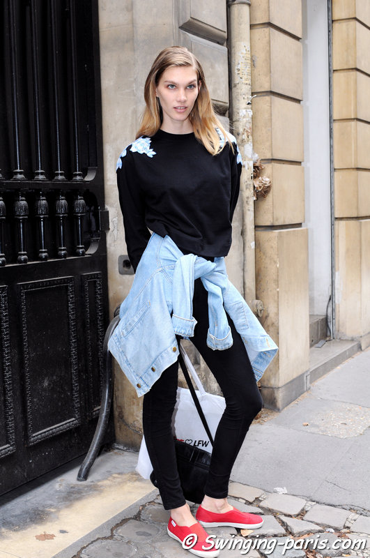 Irina Nikolaeva (Ирина николаева) outside Elie Saab show, Paris Haute Couture F/W 2014 Fashion Week, July 2014